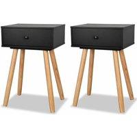 vidaXL Bedside Tables 2 pcs Solid Pinewood 40x30x61 cm Black - Black