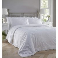 Bedspread Balmoral Broderie Anglaise Quilted Throw Throwover Set White