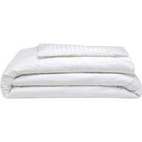 540 Thread Count Satin Stripe Duvet Cover Set (Kingsize) (White) - Belledorm