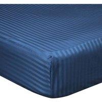 540 Thread Count Satin Stripe Extra Deep Fitted Sheet (Superking) (Navy) - Belledorm