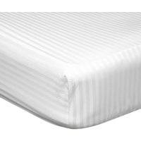 540 Thread Count Satin Stripe Extra Deep Fitted Sheet (Superking) (White) - Belledorm