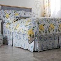 Arabella Country Dream Fitted Valance (Double) (White/Blue/Lemon) - Belledorm