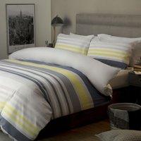 Ayan Cotton Duvet Cover Set (Double) (White/Navy/Grey/Yellow) - Belledorm