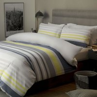 Belledorm Ayan Cotton Duvet Cover Set (King) (White/Navy/Grey/Yellow)