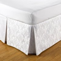 Belledorm Easy Fit Damask Platform Valance (Double) (White) - JANSONS DIRECT LINENS