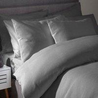 Belledorm Waffle Weave Cotton Duvet Cover Set (Double) (Grey)