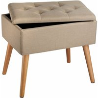 Tectake - Bench Ranya upholstered linen look with storage space - 300kg capacity - stool, storage bench, shoe storage bench - sand