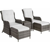 Benissa Rattan Set - Rattan garden furniture set, rattan garden furniture, rattan set - grey - TECTAKE