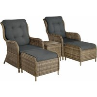Tectake - Benissa Rattan Set - Rattan garden furniture set, rattan garden furniture, wicker furniture - nature