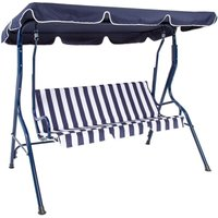 2-3 Seater Garden Patio Swing Seat Hammock Chair - Blue Striped - Charles Bentley