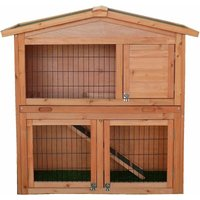 FSC Two Storey Pet Hutch with Play Area Natural Wood - Brown - Charles Bentley