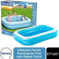 Bestway Inflatable 87 x 69 x 20/2.62m x 1.75m x 51cm Family Rectangular Pool