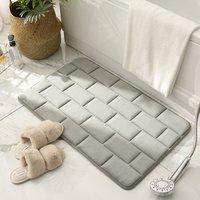 BETTE Anti-Slip Memory Foam Bath Mat, Absorbent Bath Mats Washable Bath Mats Bathroom Shower Mats (Gray, 40x60cm)
