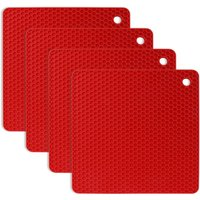 BetterLife 4pcs Anti-slip Anti-heat 230 ° C Multifunction Spoonrest Cooking Glass Table Table Mat Kitchen and Dining Room - Red