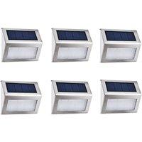BetterLife [6 Package] Outdoor Solar Lamp 4 LED EasternStar, Outdoor Lighting Solar Waterproof Stainless Steel For Fence Garden Stairway Patio Patio