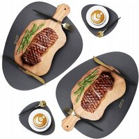 Betterlife Round Table Table Set Coffee Mat Kitchen Mat Kitchen Mat Waterproof Leather Set, Oil Resistant and Thermal Insulation (Table Rug * 2 +