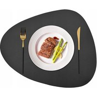 BetterLife table set table mats Round kitchen table mats waterproof leather table mats, oil-resistant and dark gray thermal insulation 4 pieces ==
