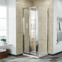 Bi-Fold Folding 760 mm Glass Door with Frameless 700 mm Side Panel - NESHOME