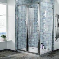 Bi-Fold Folding 760 mm Glass Door with Frameless 900 mm Side Panel