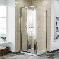 Bi-Fold Folding 800 mm Glass Door with Frameless 760 mm Side Panel