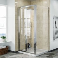 Bi-Fold Folding 900 mm Glass Door with Frameless 900 mm Side Panel