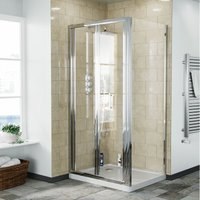 Bi-Folding 760 mm Glass Shower Door with 900 Frameless Side Panel Enclosure and Tray