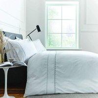 Bianca Ric Rac Egyptian Cotton King Size Duvet Cover Set White/Grey Bed Linen