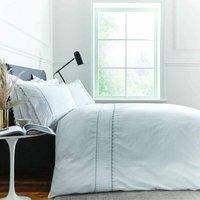 Bianca Ric Rac Egyptian Cotton Super King Duvet Cover Set White/Grey Bed Linen