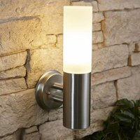 Stainless Steel Glass Wall Light - IP44 Outdoor Garden Patio Porch Outside - Biard