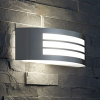 Modern Metallic Silver Curved Indoor Outdoor Wall Light Garden Patio Porch - Biard