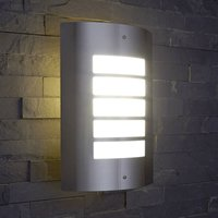 Biard Modern Metallic Silver Curved Outdoor Wall Light - Garden Patio Porch Door