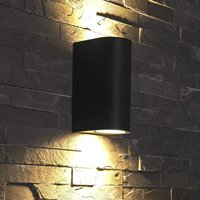 Modern Matte Black Curved Outdoor Garden Porch Patio Up Down Wall Light IP44 - BIARD
