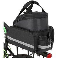 Asupermall - Bicycle Rear Seat Bag Multifunction Expandable Waterproof MTB Bicycle Pannier Bag Bike Rack Bag With Rain Cover,model:Black