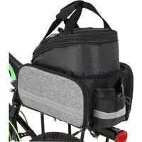 Asupermall - Bicycle Rear Seat Bag Multifunction Expandable Waterproof MTB Bicycle Pannier Bag Bike Rack Bag With Rain Cover,model:Black and Grey