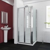 Bifold Glass Shower Enclosure Reversible Folding Shower Cubicle Door with Side Panel + Stone Tray 900 x 900 mm - ELEGANT