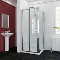 Bifold Glass Shower Enclosure Reversible Folding Shower Cubicle Door with Side Panel + Stone Tray 900 x 760 mm