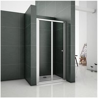760mm Chrome Bifold Door Shower Enclosure Clear Glass Folding Door Cubicle Height 1850mm - Aica
