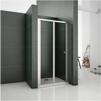 1850mm Height 760mm Bifold Door Shower Enclosure Clear Glass Folding Door Cubicle with 1100x760mm Shower Tray - Aica