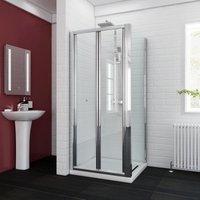 Bifold Shower Enclosure Glass Bathroom Screen Door Cubicle with Side Panel 760 x 900 mm - ELEGANT