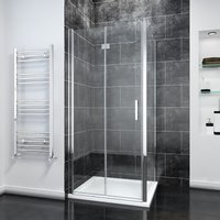 Bifold Shower Enclosure Glass Shower Door Reversible Folding Cubicle Door with Tray + Side Panel, 760 x 900 mm - Elegant