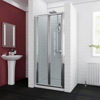 ELEGANT Bifold Shower Enclosure Reversible Folding Glass Shower Cubicle Door with Shower Tray Set, 900x700mm