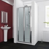 Bifold Shower Enclosure Reversible Folding Glass Shower Cubicle Door with Shower Tray Set, 900x760mm - Elegant