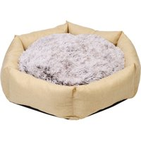 BingoPaw Deluxe Dog Bed Pet Large Round Cuddler Calming Nest 2 Side Soft Cushion,Beige L 100 x 19 cm - UNHO