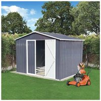 KMS - BIRCHTREE Garden Shed Metal Apex Roof 8FT X 6FT Grey White