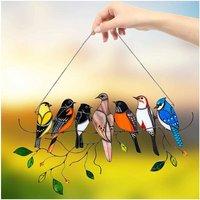 Birds on a Suncatcher Window Suncatcher Window Wire, Bird Window Stained Suspended Suncatcher, IRD Series Ornament Home Decoration, Gifts for Bird