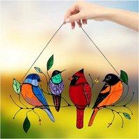 Birds on a Suncatcher Window Suncatcher Wire, Bird Window Stained Suspender Suncatcher, IRD Series Ornament Home Decoration, Gifts for Bird Lovers (A)