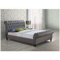 Birlea Castello Grey Fabric Upholstered Sleigh Bed Frame 4ft6 Double 135 cm