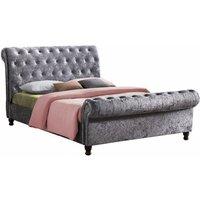 Birlea Castello Steel Crushed Velvet Fabric Upholstered Sleigh Bed Frame 4ft6 Double 135 cm