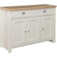 Birlea Highgate 3 Door 2 Drawer Sideboard - Cream and Oak - Farmhouse Style