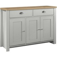 Birlea Highgate 3 Door 2 Drawer Sideboard - Grey and Oak - Farmhouse Style